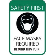 Safety First Face Masks Required Sign